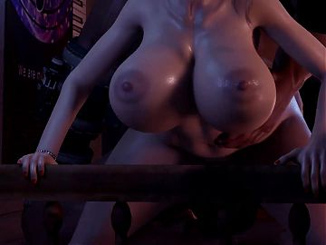 Enormous titted babe in the den of mega hungry males 3d porn