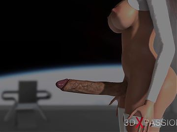3d hot alien dickgirl bangs a hot girl in space station