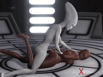 3d alien dickgirl bangs a sexy ebony slave in space station