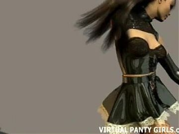 3d virtual French maid teasing in lingerie