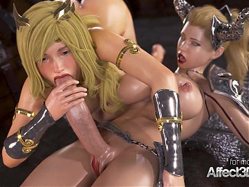 Affect3d massive boobs princesses in a futanari 3d animation