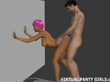 Pink haired 3d anime babe takes a big cock from behind