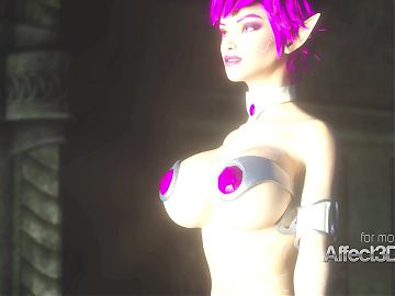 New 3d animation game with a mega boobs elf beauty