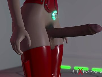 Seductive sex in space station! 3d dickgirl plays with a sweet young lady