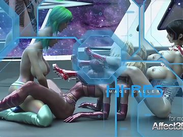 3d animated futanari chicks having threesome in a space stati