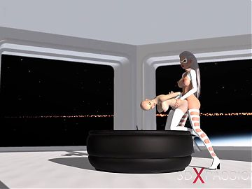 3d seductive alien dickgirl bangs a spicy girl in space station