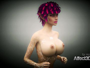 New 3d animation game with a gigantic boobs elf beauty