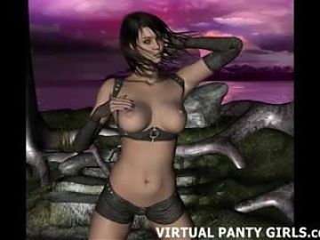 Hot virtual 3d stripper in pink lingerie