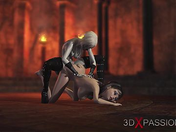 3d dickgirl witch screws a spicy girl in the dark castle