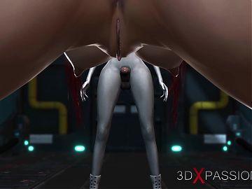 3d alien dickgirl bangs a 18 years old in restraints in sci-fi lab