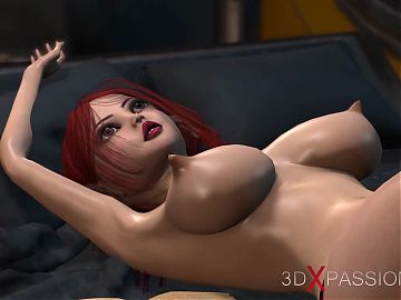 3d alien dickgirl bangs a young woman in restraints in sci-fi lab