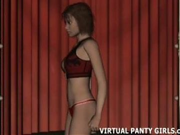 Watch your 3d virtual girl dancing in a sleazy strip club